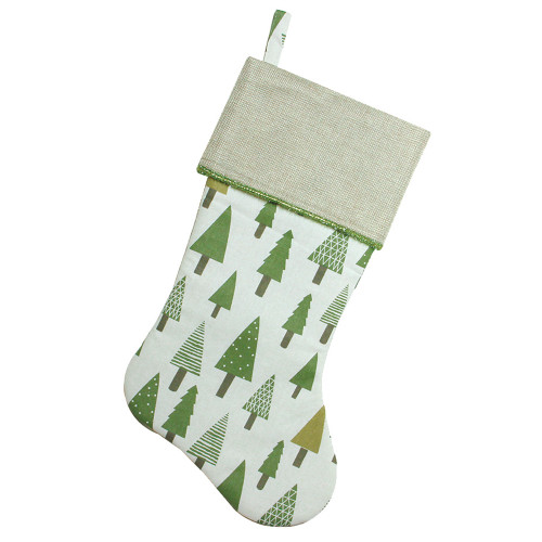 "18.5"" Green and White Christmas Stocking with Flax Cuff - IMAGE 1"