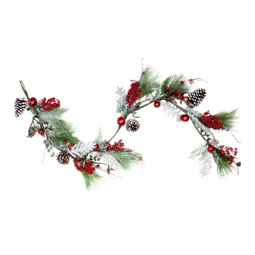 """5.5' x 7"""" Frosted and Flocked Artificial Christmas Garland - Unlit - IMAGE 1"""
