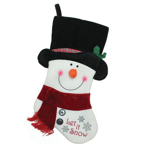 """18.5"""" Black, Red and White Embroidered """"Let It Snow!"""" Snowman Christmas Stocking - IMAGE 1"""