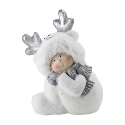 "12.5"" White and Gray Smiling Child with Reindeer Snow Suit Christmas Tabletop Decor - IMAGE 1"