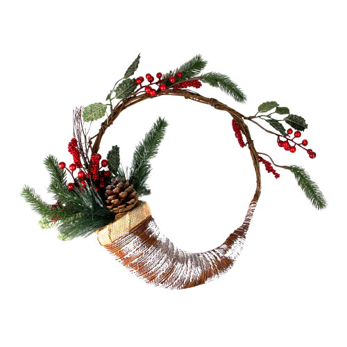Frosted Cornucopia Artificial Christmas Wreath - 14-Inch, Unlit - IMAGE 1