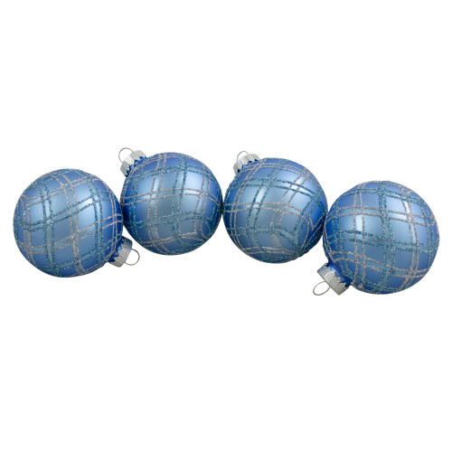 "4ct Blue and Silver Plaid Glitter Glass Christmas Ornament Ball Set 2.75"" (70mm) - IMAGE 1"
