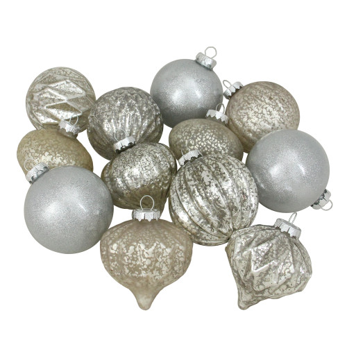 """12ct Beige and Silver 3-Finish Glass Christmas Ornaments 3.75"""" - IMAGE 1"""