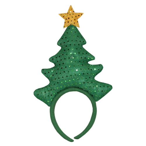 """14"""" Green and Yellow Felt Sequin Christmas Tree with Star Decorative Headband Costume Accessory - IMAGE 1"""