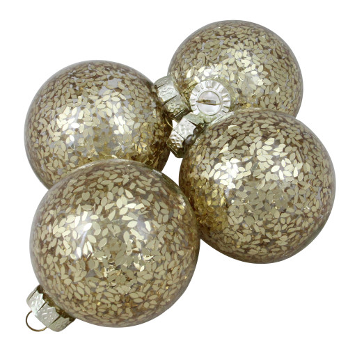 "4ct Clear and Gold Shiny Seeds Glass Christmas Ball Ornaments 4"" (101.5mm) - IMAGE 1"