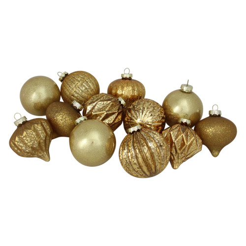 """12ct Gold 3-Finish Glass Christmas Ornaments 3.75"""" - IMAGE 1"""