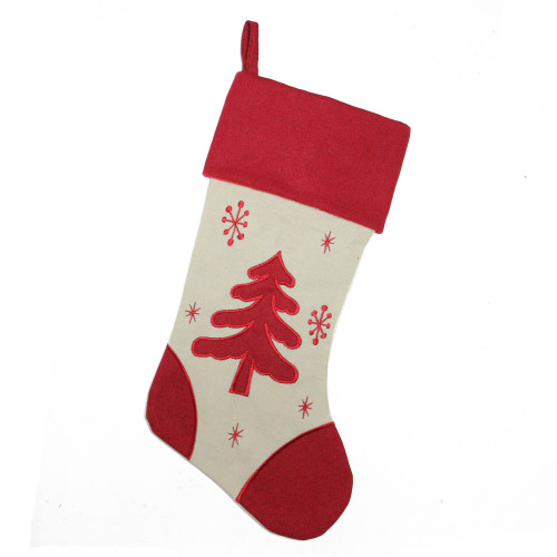"""18"""" Red and Ivory Tree with Snowflakes Christmas Stocking - IMAGE 1"""