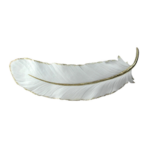 "22"" White and Gold Gilded Feather Shaped Christmas Wall Decor - IMAGE 1"