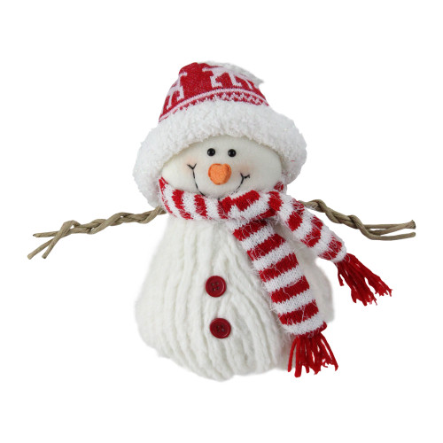 "9"" Red and White Fuzzy Smiling Snowman Christmas Figure Decoration with Red  Hat and Scarf - 32635576"