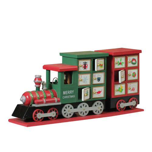 "16.5"" Red and Green Locomotive Train Advent Calendar Christmas Tabletop Decor - IMAGE 1"