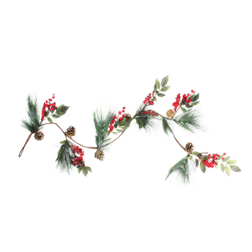"""4.5' x 5.5"""" Green and Red Snow Dusted Artificial Christmas Garland - Unlit - IMAGE 1"""