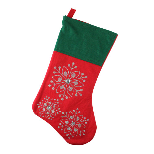 """19"""" Red and Green Felt Christmas Stocking with Snowflakes - IMAGE 1"""