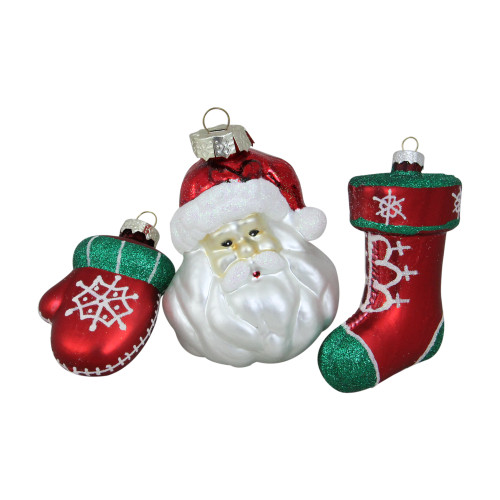 """Set of 3 Red and Green Santa Glass Christmas Ornaments 4.25"""" (108mm) - IMAGE 1"""