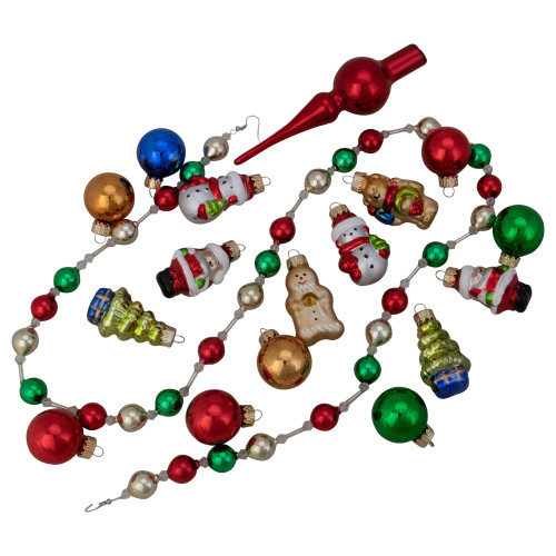 "18ct Red and Green Beaded Garland with Christmas Ornaments 30"" - IMAGE 1"