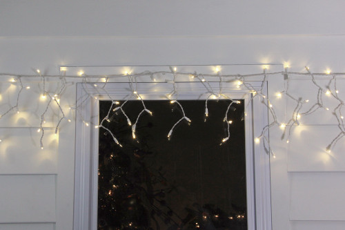Set Of 100 Warm White Led Wide Angle Icicle Christmas Lights White Wire 32605195