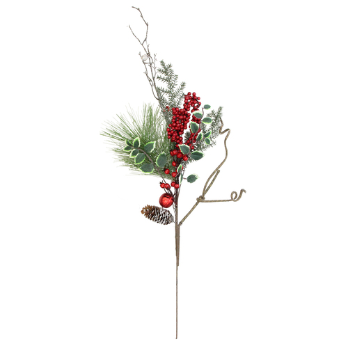 "32"" Green Frosted Berries and Pine Cones Artificial Christmas Spray - IMAGE 1"