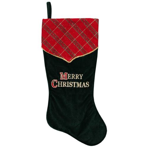 "19"" Green and Red 'Merry Christmas' Christmas Stocking - IMAGE 1"