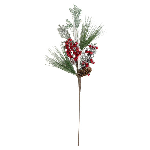 """31"""" Green and Red Frosted Artificial Christmas Spray with Berries and Pine Cones - IMAGE 1"""