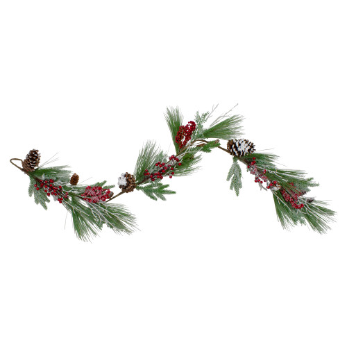 "5.75' x 7"" Berries and Pine Cones Frosted Artificial Christmas Garland - Unlit - IMAGE 1"