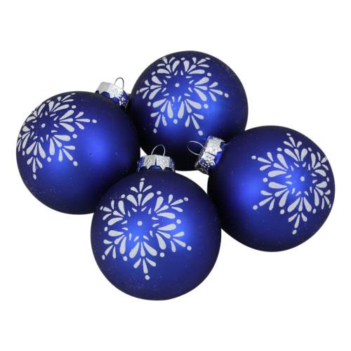"4ct Royal Blue and White Snowflake Christmas Ball Ornament 3"" (75mm) - IMAGE 1"