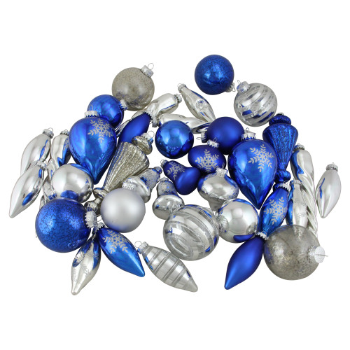 """36ct Blue and Silver 2-Finish Asymmetrical Glass Christmas Ornaments 8"""" - IMAGE 1"""