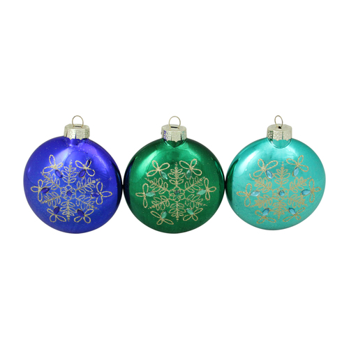 """Set of 3 Blue and Green Glitter Snowflake Disc Shaped Glass Christmas Ornament 3.25"""" (82mm) - IMAGE 1"""