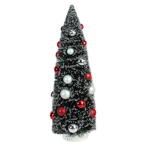 """15"""" Red and Silver Pine Artificial Christmas Tree Topper - Unlit - IMAGE 1"""
