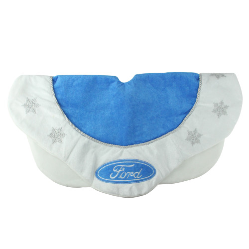 """21.5"""" Blue and White Ford Scalloped Mini Christmas Tree Skirt - IMAGE 1"""
