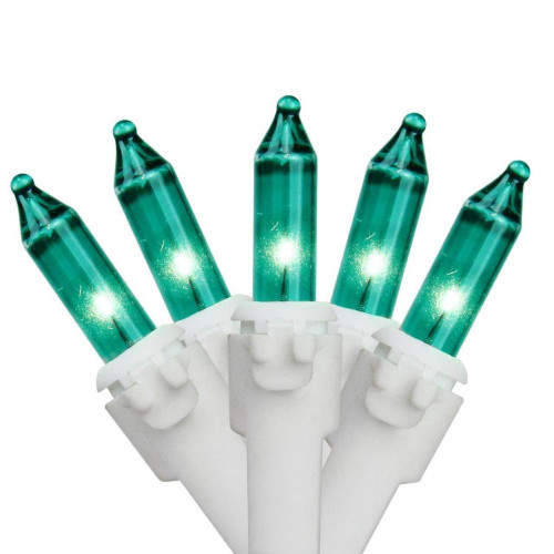 100-Count Teal Green Mini Christmas Light Set, 49.5ft White Wire - IMAGE 1