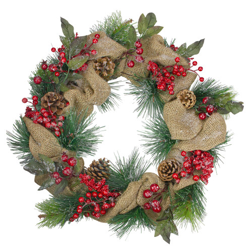 Iced Burlap and Berries Artificial Christmas Wreath - 18 inch, Unlit - IMAGE 1