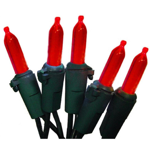 50-Count Red Mini Christmas Light Set, 24.6ft Green Wire - IMAGE 1