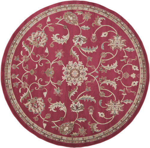 8' Floral Red and Olive Green Shed-Free Round Area Throw Rug - IMAGE 1