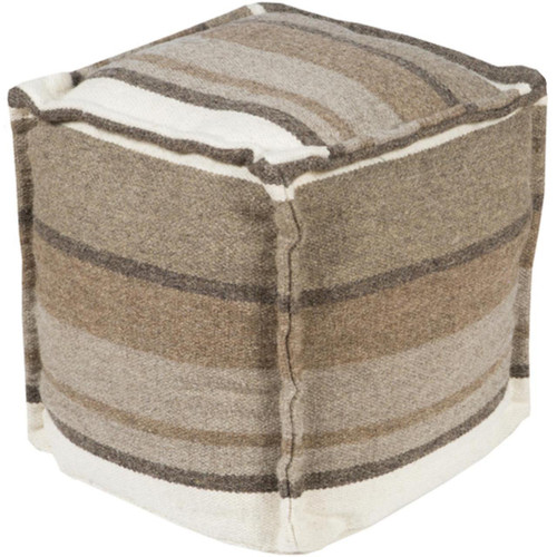 "18"" Adobe Brown, Taupe and Gray Rustic Cotton Square Pouf Ottoman - IMAGE 1"