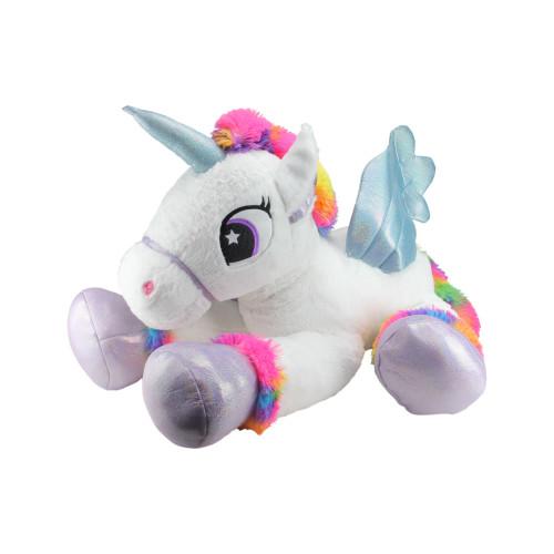 """42"""" Super Soft and Plush White Sitting Winged Unicorn  with Rainbow Mane Stuffed Figure - IMAGE 1"""
