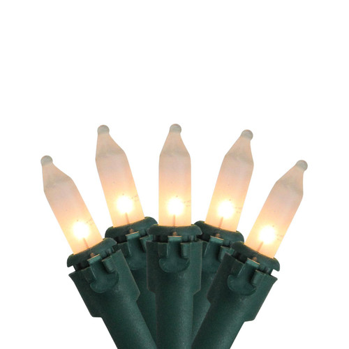 100-Count White Mini Christmas Light Set, 49.6ft Green Wire - IMAGE 1