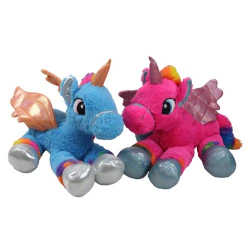"Set of 2 Super Soft and Plush Pink and Blue Sitting Winged Unicorns Stuffed Animal Figures 23.5"" - IMAGE 1"