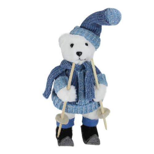 "15"" White and Blue Skiing Bear Christmas Tabletop Figurine - IMAGE 1"