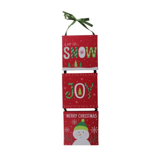 "15.5"" LED Fiber Optic 3-Panel Red Snowman Christmas Wall Art Decoration - IMAGE 1"