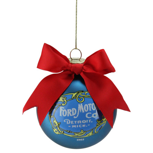 """2.75"""" Blue and Red Ford Motor with Bow Glass Ball Christmas Ornament - IMAGE 1"""