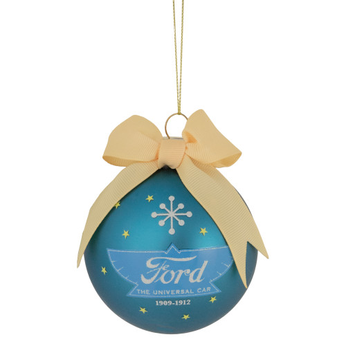 """Blue and Beige 'Ford The Universal Car' Glass Christmas Ball Ornament 2.75"""" (70mm) - IMAGE 1"""