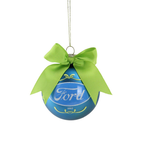 """2.75"""" Blue and Green 'Ford' Logo Glass Ball Christmas Ornament 2.75"""" (70mm) - IMAGE 1"""