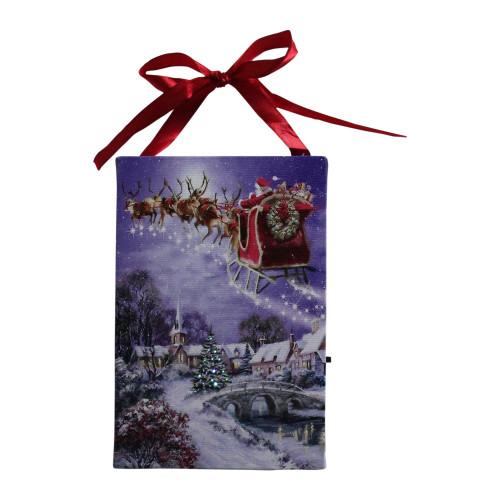 6 LED Fiber Optic Christmas Tree and Santa Sleigh Wall Art Decor - IMAGE 1