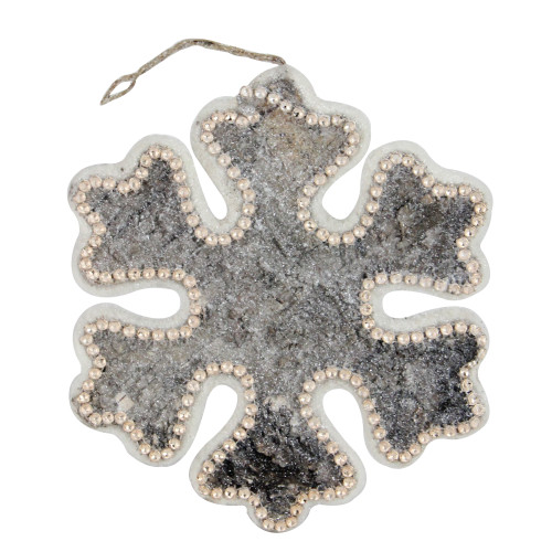 """8"""" White and Brown Rustic Embellished Christmas Snowflake Ornament - IMAGE 1"""