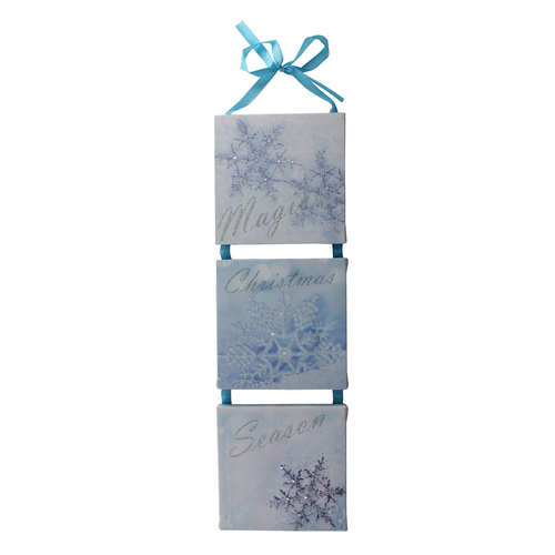 "15.5"" LED Lighted Winter Blue ""Magic Christmas Season"" Snowflake Wall Art Decoration - IMAGE 1"