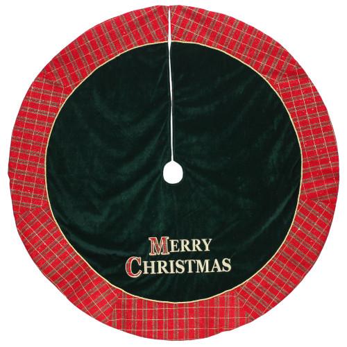 """48"""" Red and Green 'MERRY CHRISTMAS' Plaid Christmas Tree Skirt - IMAGE 1"""
