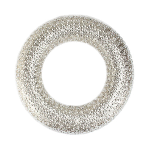 Silver and Clear Beaded Artificial Christmas Wreath - 20-Inch, Unlit - IMAGE 1