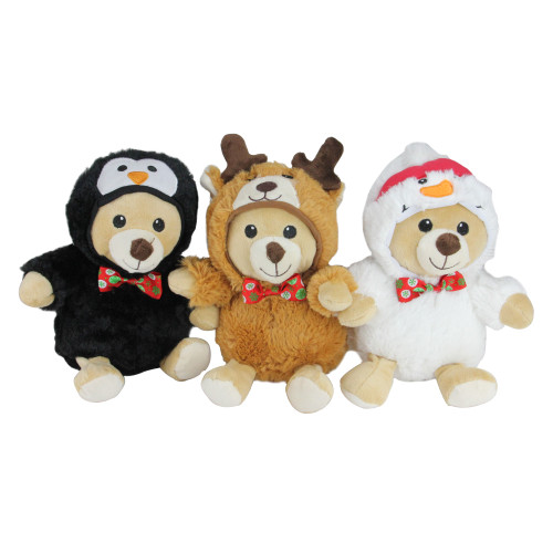 """Set of 3 Brown and Black Teddy Bear Stuffed Animal Figures in Christmas Costumes 8"""" - IMAGE 1"""