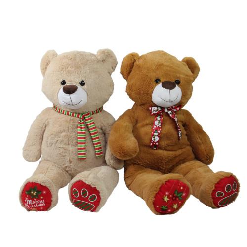 "Set of 2 Brown and Beige Plush Christmas Stuffed Bear Figures 40"" - IMAGE 1"