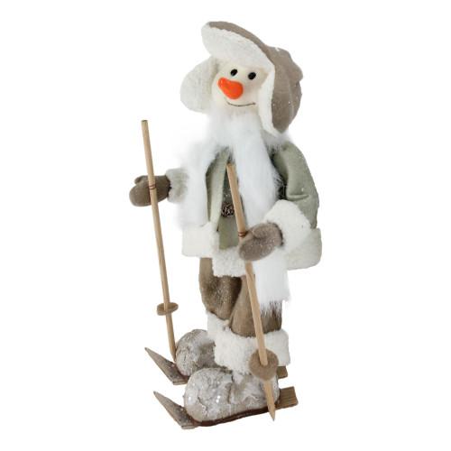"16"" White and Brown Snow Skiing Snowman Christmas Tabletop Figurine - IMAGE 1"