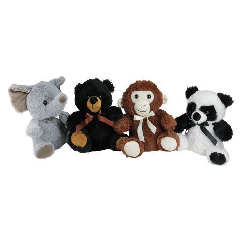 "Pack of 4 Plush Sitting Bear, Elephant, Monkey and Panda Stuffed Animal Figures 9"" - IMAGE 1"